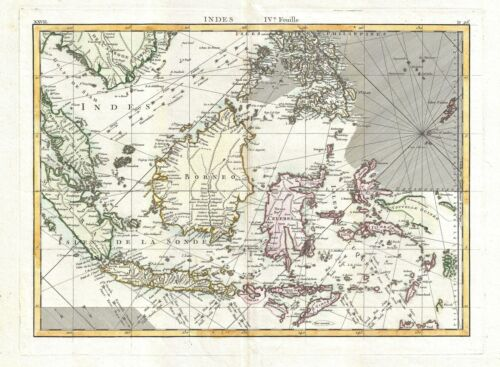 1770 Bonne Map of the East Indies (Java, Sumatra, Borneo, Singapore)