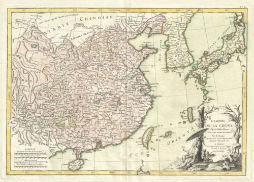1783 Bonne Map of China, Korea, Japan and Formosa
