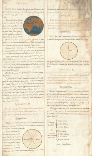 1720 Italian Navigation Manuscript w/ Global Motion Diagrams