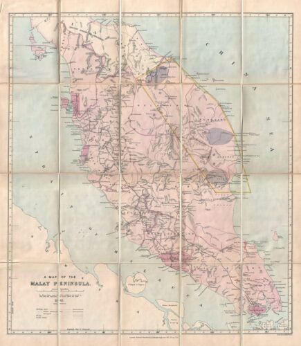 1913 Stanford Map of the Malay Peninsula (with manuscript Tin Region)