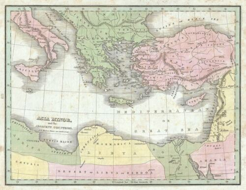 1835 Bradford Map of Asia Minor (Turkey) and its Surrounding Countries