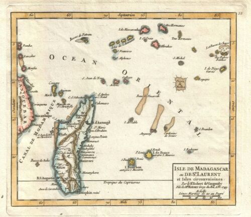 1749 Vaugondy Map of Madagascar