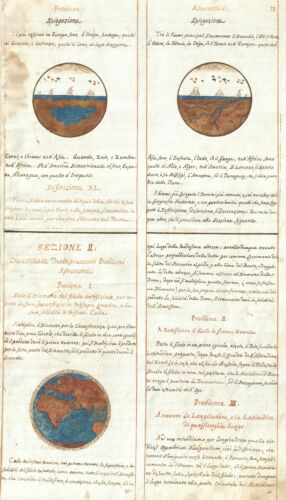 1720 Set of 3 Consecutive Italian Navigation Manuscript Pages
