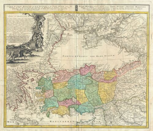 1743 Homann Heirs Map of Black Sea Region (Turkey, Asia Minor, Greece, Crimea)