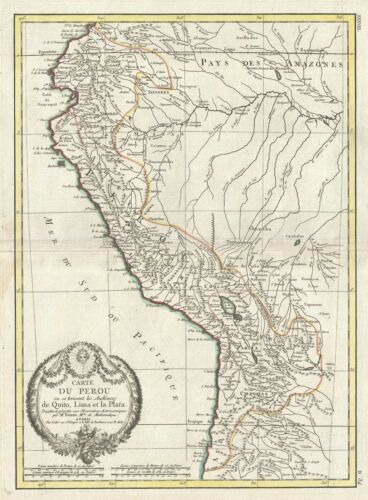 1778 Bonne Map of Peru, Ecuador, Bolivia, and the Western Amazon