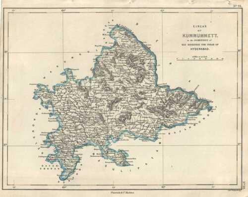 1854 Pharoah and Company Map of the Khammam District of Telangana, India