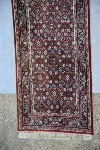 "Oriental Hand Knotted Rug Runner Bijar Design Made In India 2'.6""x13'.4"" #361"