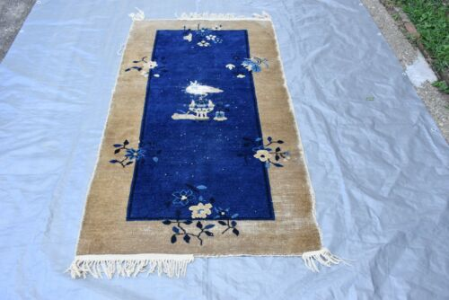 Antique Chinese Rug Destressed, Damaged, 3.2x5.7 AS IS #213