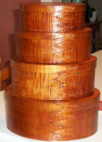 TIGER MAPLE SHAKER OVAL BOXES---STACK OF 4-----SIZES #2-5