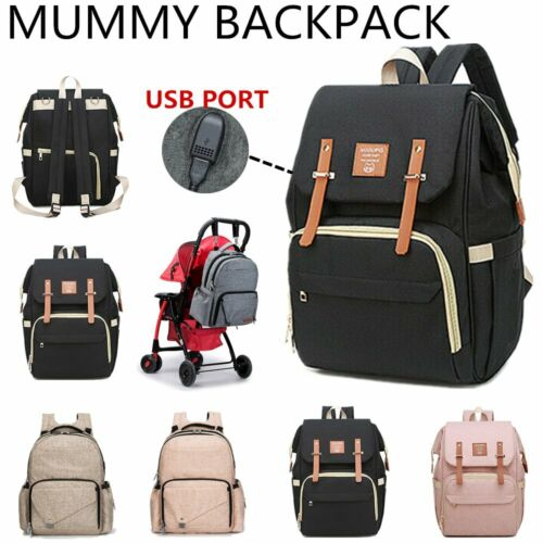 Waterproof Large Mummy Nappy Bag Diaper Travel Changing Backpack with USB Port