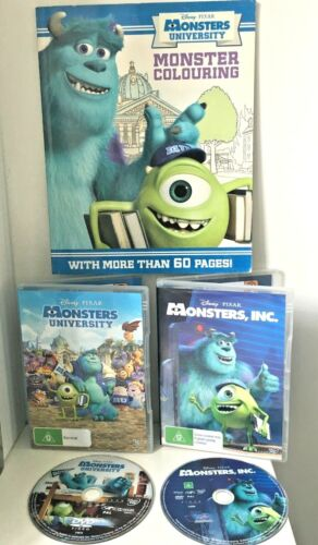 U GET 2 DVDS DISNEY PIXAR Monsters Inc & University & Colouring in book 60 pgs+