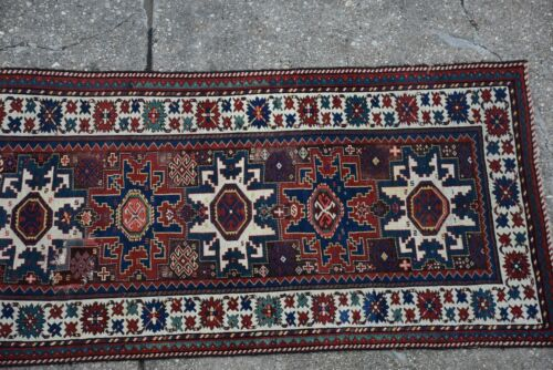 Antique Caucasian Rug Runner Kazak Shirvan 4x8 #245