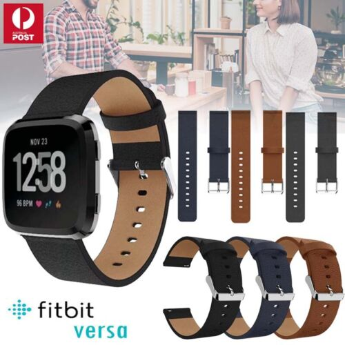 Genuine Leather Replacement Wrist Watch Band Strap For Fitbit Versa / 2 / Lite