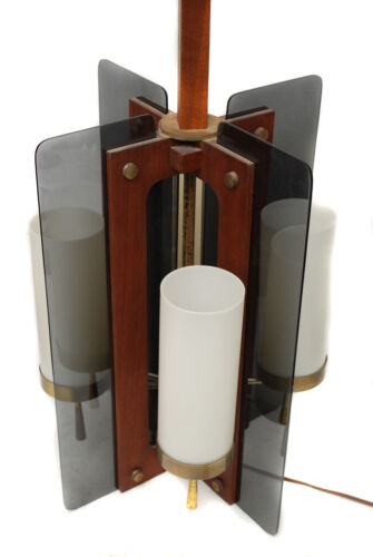 Vintage Mid Century Modern Table Lamp - Walnut & Brass w/ Lucite Wings - Candles