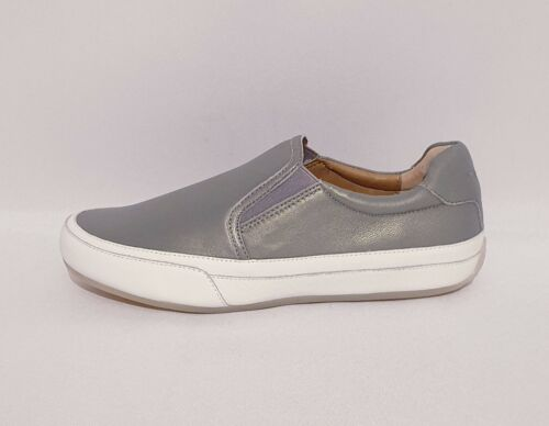 VIONIC APRIL RRP £100 ORTHOTIC GREY WHITE LEATHER FLATS SHOES TRAINERS WOMENS