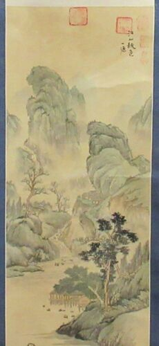 LARGE CHINESE ORIGINAL WATERCOLOR MOUNTAIN RIVER VILLAGE SCROLL PAINTING SIGNED