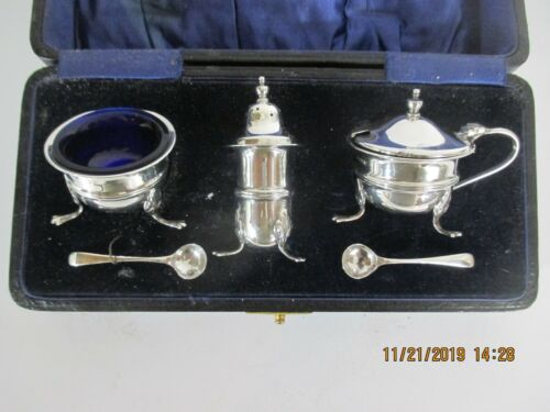 LANSON LTD ENGLISH STERLING SILVER PAW FOOTED CONDIMENT SET COBALT GLASS INSERTS