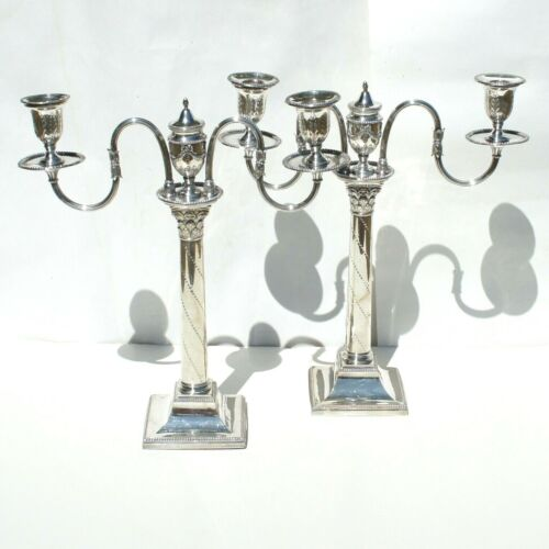 Antique Georgian George III Silver on Copper Corintian Column Two Arm Candelabra