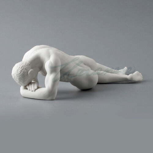 """3"""" Western modern Art pottery and porcelain white nude man Lie prone Sculpture"""