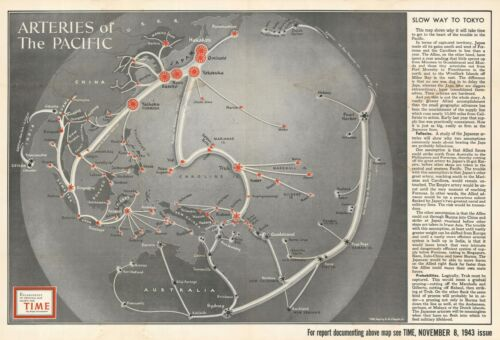 1943 Chapin Pictorial Map of the Pacific Fortified Positions During World War II