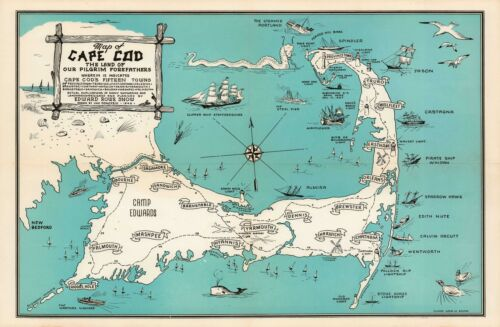 1946 Pictorial Map of Cape Cod, Massachusetts