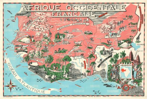 1951 Craste Pictorial Map of French West Africa