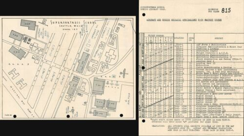 1945 Boeing Map or Plan of Superfortress School in Seattle During WWII