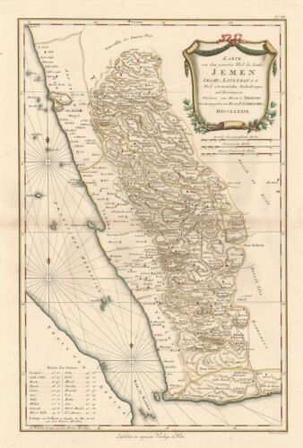 1789 Schraembl / Niebuhr Map of Yemen, Arabia