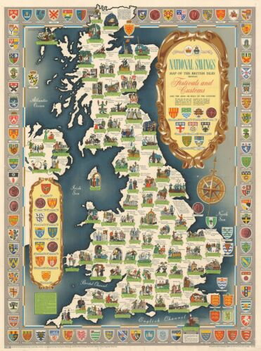 1953 National Savings Pictorial Map of the British Isles Festivals and Customs