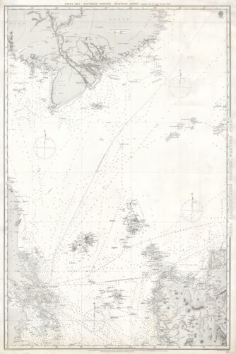 1887 Admiralty Nautical Chart of Singapore, Malaya, Luzon, and the Mekong Delta