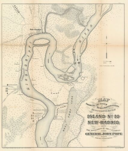 1862 John Pope Map of the Mississippi River around New Madrid, MO
