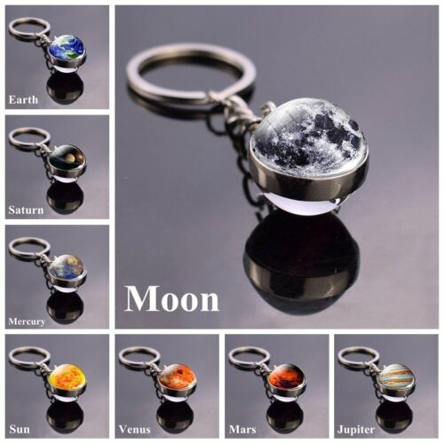 Solar System Planet Galaxy Nebula Keychain Pendant Double Side Glass Ball Gifts <br/> √12 Constellation √Eight planets √Lovely animal