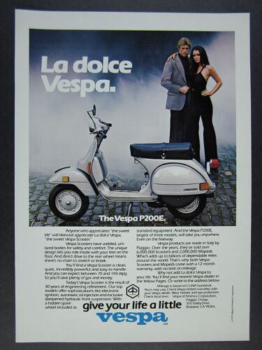 1979 Vespa P200E Scooter color photo vintage print Ad