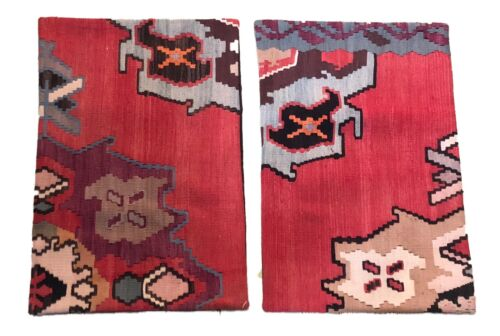 """Superb Set of 2 Custom Made Old Turkish  Tribal Kilim Pillows Cover 16"""" by 24"""""""