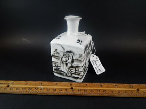 Rare Antique Grisaille Painted Milk Glass Square Bottle `18th /19th Century