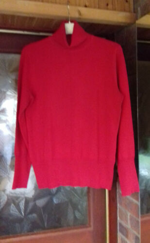 size 14 top quality expensive red BETTY BARCLAY designer polo neck sweater