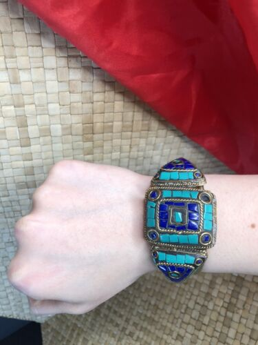 Old Tibetan Bracelet with Local stones in Amethyst & Turquoise Colours