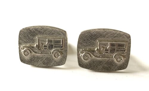 Vintage Cufflinks Depicting Brass Era Automobile Car Collectors Enthusiasts