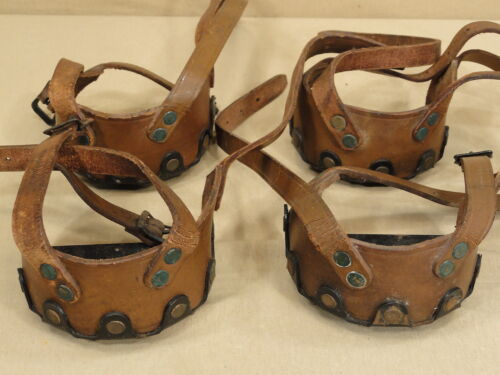 ANTIQUE 1909 2 PAIR LEATHER STEEL ICE CREEPERS CLEATS FISHING CLIMBING SNOW SHOE