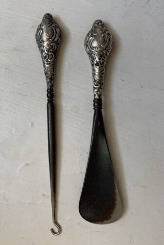 Antique Sterling Silver Shoehorn and Button Hook Set 1916