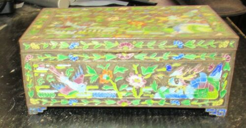 OLD CLOISONNE REPOUSSE ENAMEL CHINESE BIRDS DESIGN HUMIDOR JAR BOX