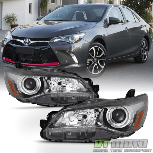 For 2015 2016 2017 Toyota Camry Headlights Black Bezel Trim Headlamps Left+Right <br/> Compatible on Models w/ Factory Halogen Headlights Only