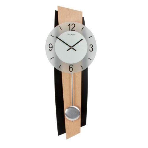 MODERN BLACK & BEECH WOOD WALL CLOCK WITH PENDULUM. NEW AND BOXED.