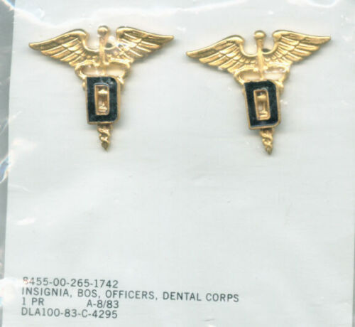 ARMY DENTAL CORPS BRANCH OF SERVICE INSIGNIA NIP GOLD COLOR DATED PAIR BOSOther Militaria - 135