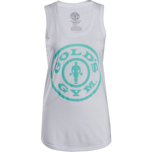 Gold's Gym Women's Weight Plate Racerback Tank Top - White <br/> Exclusive Seller of Gold's Gear on eBay