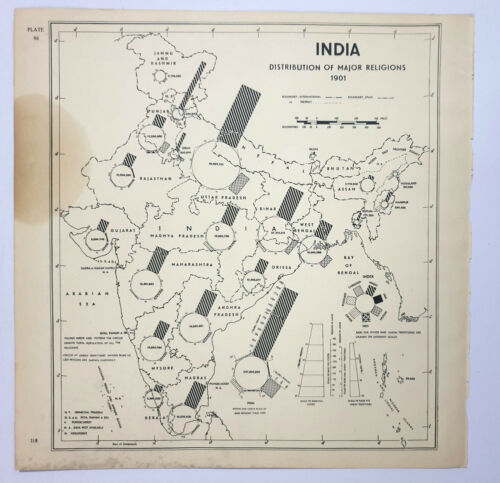 Map India - DISTRIBUTION OF MAJOR RELIGIONS in 1901 12in x 12in