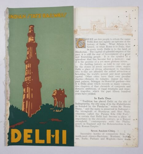 DELHI - 1930's Illustrated Guide INDIAN STATE RAILWAYS