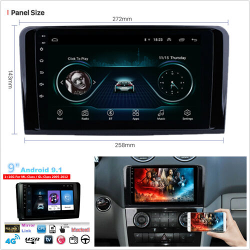 """9"""" Android 9.1 For Mercedes Benz X164 W164 ML GL Car Stereo Radio GPS Navigation"""