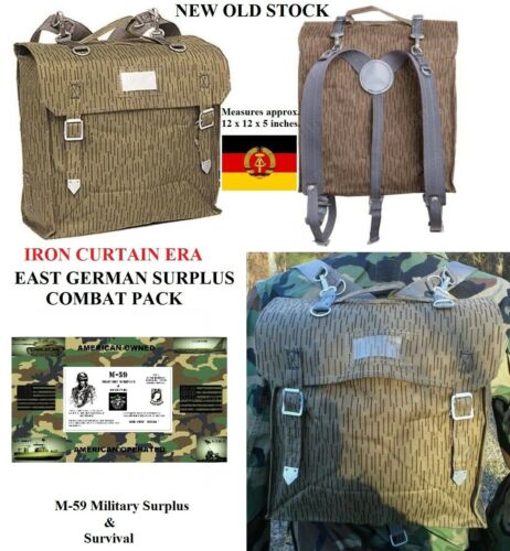 Genuine Berlin Wall Era East German Military Combat Backpack N.O.S. With Stains