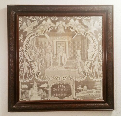 THE DECLARATION OF INDEPENDENCE vtg lace fabric crafts american english folk artReenactment & Reproductions - 156378